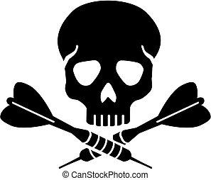cranio, com, cruzado, dardos, setas