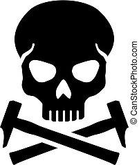 cranio, com, cruzado, martelo