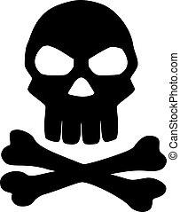 cranio, com, cruzado, ossos