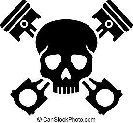 cranio, com, cruzado, pistões