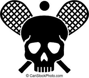 cranio, com, cruzado, squash, raquetes