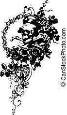 cranio, com, flor, emblema