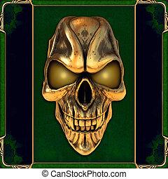 cranio, com, glowing, dourado, olhos