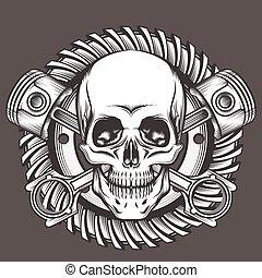 cranio, com, pistões, contra, motocicleta, engrenagem, emblema