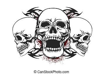 cranio, com, tribal, elementos