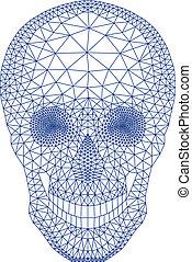 cranio, con, modello geometrico, vecto