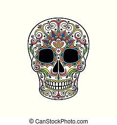 cranio, cranio, ornamento, morto, zucchero, vettore, illustrazione, floreale, giorno