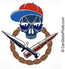 cranio, criminale, anarchia, gangster, ribelle, logotipo, o, cattivo, vettore, emblema, vendemmia, aggressivo, tatuaggio, scull, caos, revolutionary.