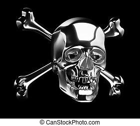 cranio, croce, argento, ossa, totenkopf, o