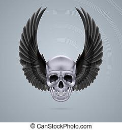 cranio, cromo, metal, dois, cima, asas