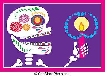 cranio, di, zucchero, con, candela