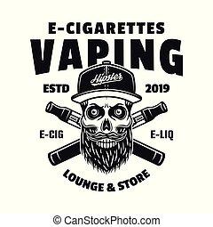 cranio, e-cigarettes, berretto, due, vettore, hipster