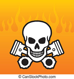 cranio, e, pistões, com, chamas