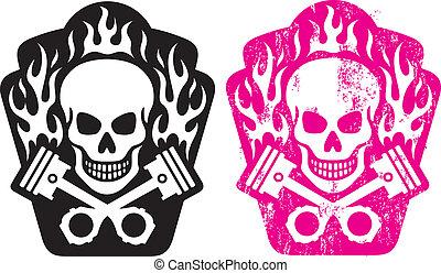 cranio, e, pistões