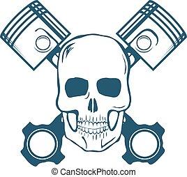 cranio, e, pistons., t-shirt, graphic., vetorial