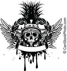 cranio, em, capacete, e, cruzado, espada