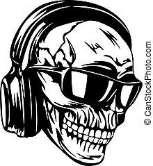 cranio, em, fones, e, óculos de sol