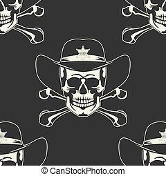 cranio, emblema, in, uno, cowboy's, cappello, cucitura