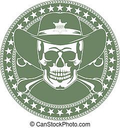 cranio, emblema, in, uno, cowboy\'s, cappello