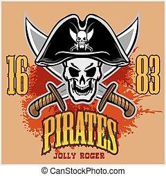 cranio, espadas, crucifixos, chapéu preto, pirata