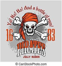 cranio, espadas, crucifixos, headband, pirata, vermelho