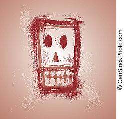 cranio, faccia, grunge