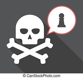cranio, figura, penhor, longo, xadrez, sombra