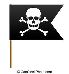 cranio, flag., giocondo, vettore, crossbones., roger., pirata, illustrations.