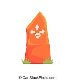 cranio, frecce, illustrazione, vettore, lapide, arancia