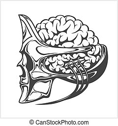 cranio, grande, estrangeiro, cérebro, robotic, helmet.