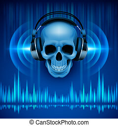 cranio, headphones., fundo, discoteca