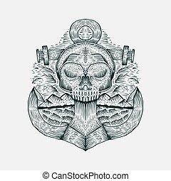 cranio, ilustração, mão, vetorial, desenhado, âncora