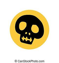 cranio, ilustração, silueta