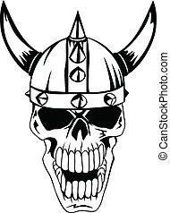 cranio, in, casco, vikings