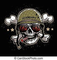 cranio, in, occhiali da sole, e, uno, militare, helmet.