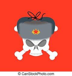 cranio, in, pelliccia, hat., simbolo, di, spettro, di, communism., rosso, emblema, di, morte