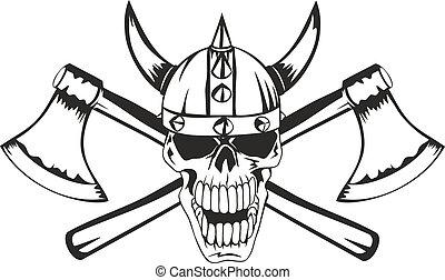 cranio, in, uno, casco