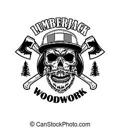 cranio, lumberjack, vetorial, ilustração, barbudo