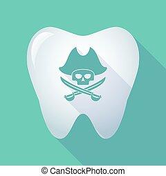 cranio, lungo, dente, uggia, pirata, icona