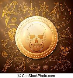 cranio, mão, desenhado, moeda, pirata, ícone