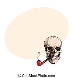 cranio, madeira, envernizado, mão, cano, human, desenhado, fumar