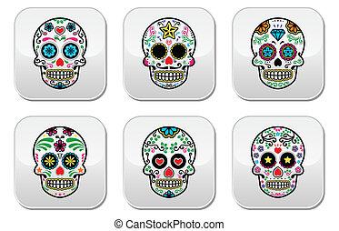 cranio, messicano, de, dia, zucchero, mue, los