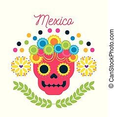 cranio, messico, ornamento, morto, floreale, giorno