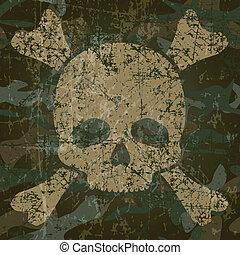 cranio, militar, fundo, crossbones