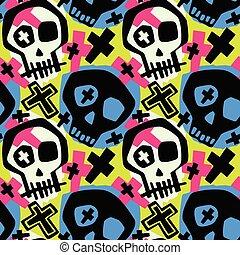 cranio, moderno, ragazze, ragazzi, impaurito, abbigliamento, print.