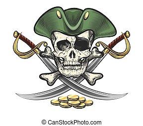 cranio, moedas, marinheiro, sabres, chapéu, pirata