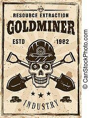 cranio, ouro, cartaz, mineiro, dois, pás cruzadas