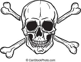 cranio, pretas, sobre, branca
