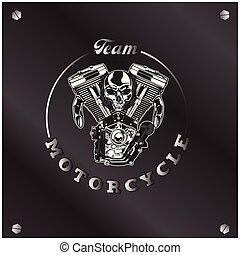 cranio, quadro, vetorial, motocicleta, fundo, equipe, círculo, imagem
