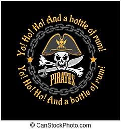 cranio, -, roger allegro, cappello, pirata